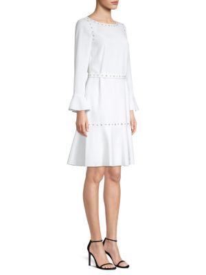 Henryke Bell-Sleeve Crepe Dress