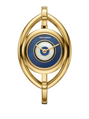 Evil Eye Goldtone Stainless Steel Bangle Watch