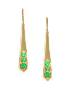 ILA Livia 14K Gold & Emerald Earrings