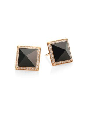 Obelisco 18K Rose Gold, Jade & Diamond Stud Earrings