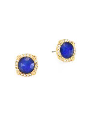 Pavé Crystal & 14K Goldplated Halo Stud Earrings