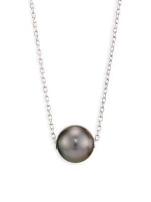 MIKIMOTO 10MM Black Cultured Pearl & 18K White Gold Pendant Necklace