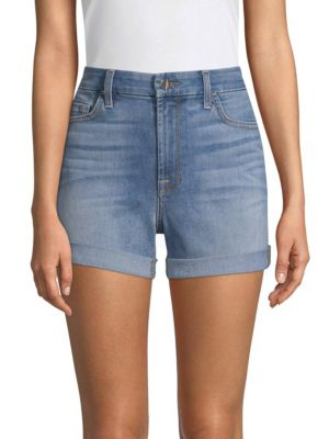 JEN7 BY 7 FOR ALL MANKIND MID-RISE ROLL DENIM SHORTS