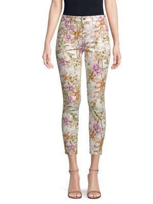 JEN7 BY 7 FOR ALL MANKIND HAVANA TROPICS FLORAL-PRINT ANKLE SKINNY JEANS