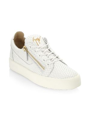 Snake-Print Leather Low-Top Sneakers