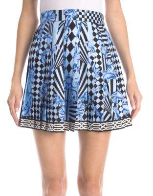 Silk Twill-Pleated Mini Skirt