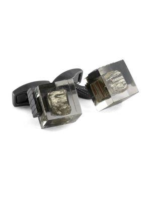 Pyrite & Gunmetal-Plated Square Cufflinks