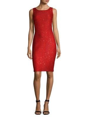 Glamour Knit Sequin Sheath Dress