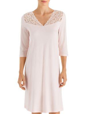Moments Three-Quarter Lace Yoke Night Gown