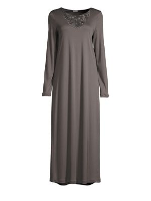 HANRO Ella Long-Sleeve Long Night Gown