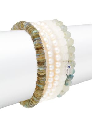 Small Hamsa Diamond, Faux Pearl & 14K White Gold Beaded Pendant Bracelet