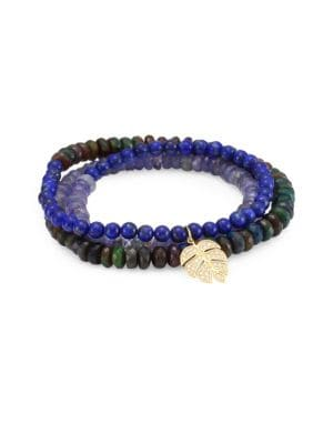 Semi-Precious Multi-Stone and 14K Gold Medium Monstera Beaded Wrap Bracelet