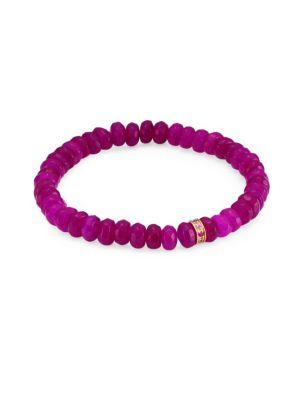 Sapphire, Purple Jade and 14K Gold Rainbow Rondelle Berry Beaded Bracelet