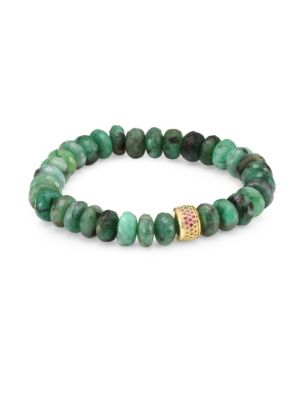 Sapphire, Emerald and 14K Gold Rondelle Natural Beaded Bracelet