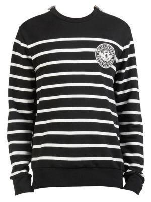 Striped Patch Crewneck Sweater