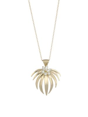 Tropical Curled Palm Fan Pearl & 14K Yellow Gold Pendant Necklace