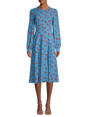 Silk Georgette Rose Print A-Line Dress