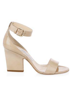 Edina Patent Leather Ankle-Strap Sandals