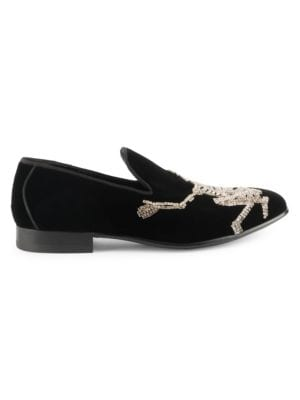 Embellished Velvet Loafers