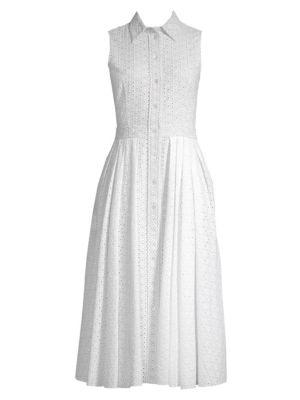 Sleeveless Eyelet Shirt Dress by Michael Kors Collection