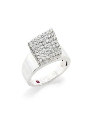 ROBERTO COIN Sauvage Prive 18K White Gold Diamond Cube Ring