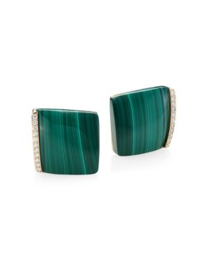 ROBERTO COIN Sauvage Prive 18K Yellow Gold Square Malachite Diamond Earrings