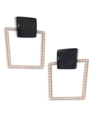 Sauvage Prive 18K Rose Gold, Black Jade & Diamond Square Earrings