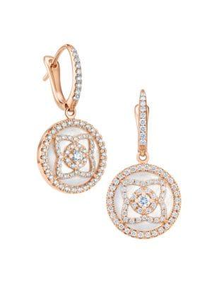 Enchanted Lotus Rose Gold, Diamond & Mother Of Pearl Sleeper Earrings