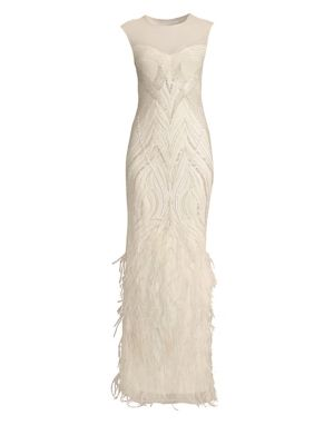 Allie Beaded Feather Gown