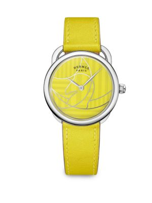 HERMES Arceau Lacquered Stainless Steel & Leather Strap Watch