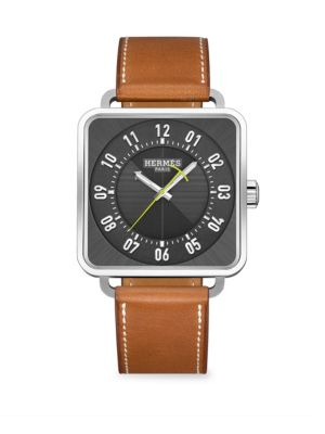 Carre H Square Leather Strap Watch