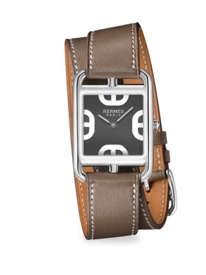 HERMES Cape Cod Stainless Steel & Leather Double-Wrap Watch