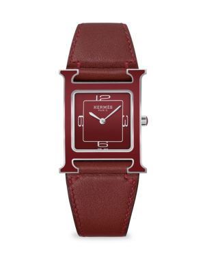 HERMES Heure H Square Stainless Steel Leather-Strap Watch