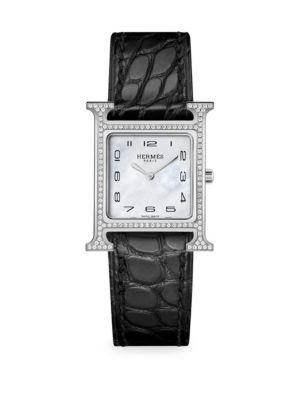 Heure H 21MM Diamond, Stainless Steel & Alligator Strap Watch
