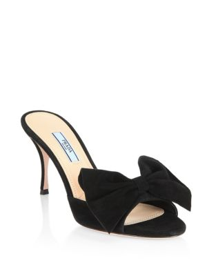 Large Bow Suede Mules