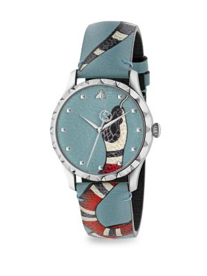 G-Timeless Snake Stainless Steel & Leather Strap Watch