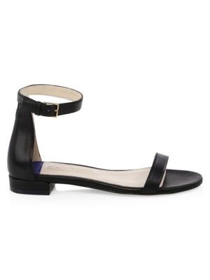 Open Toe Leather Ankle-Strap Sandals