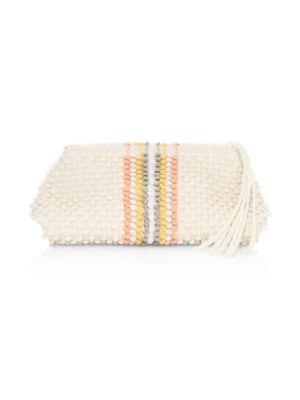 INVERNI Cotton Vertical Striped Clutch