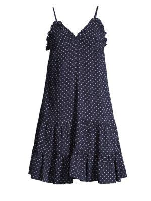 Ikat Polka-Dot Seersucker Ruffle Slip Dress