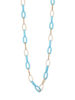 VHERNIER Ottovolante 18K Rose Gold & Rebuilt Turquoise Long Chain Necklace