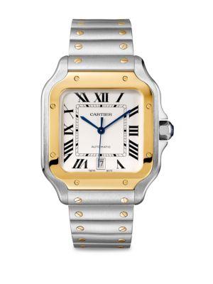 Santos de Cartier Large Yellow Gold & Steel Alligator Strap Watch