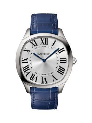Drive de Cartier Stainless Steel & Blue Alligator-Strap Watch