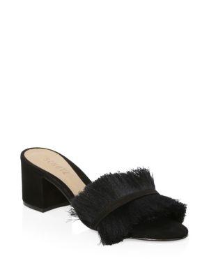 Elza Black Fringed Suede Sandals