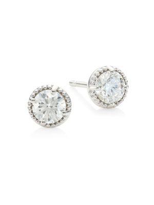 HEARTS ON FIRE Diamond & 18K White Gold Earrings