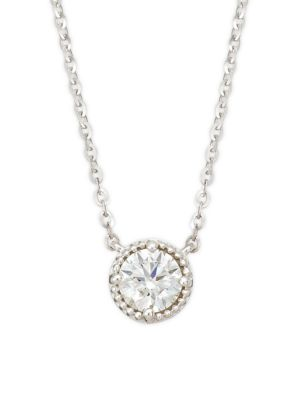 HEARTS ON FIRE 18K White Gold Diamond Circular Pendant Necklace