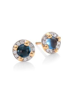 M'ama Non M'ama 18K Rose Gold Blue Topaz & Diamond Stud Earrings