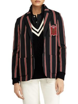 Wool-Blend Cricket-Stripe Blazer