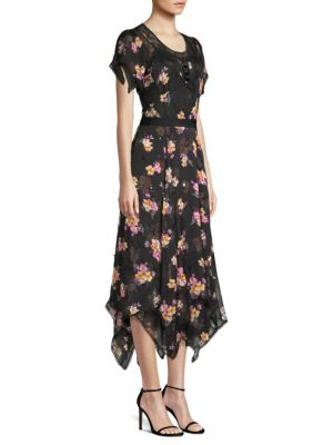 embellished forest floral print dress