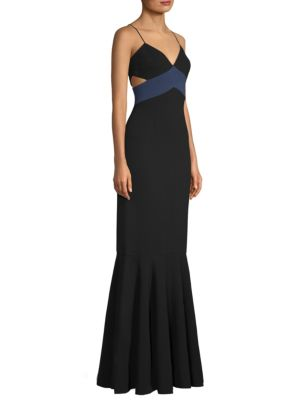 MARISSA CUTOUT TWO-TONE CREPE GOWN