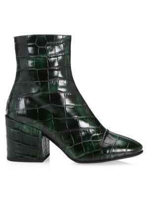Crocodile Pattern Leather Booties